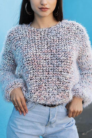 Fuzzy O Neck Long Sleeve Sweater - girlyrose.com