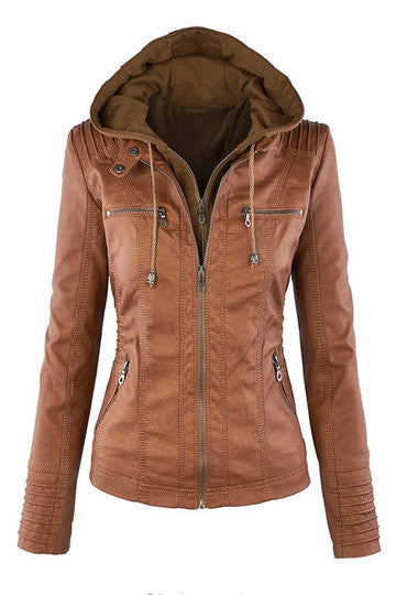 Fashion Zipped Jacket With Removable Hood - girlyrose.com