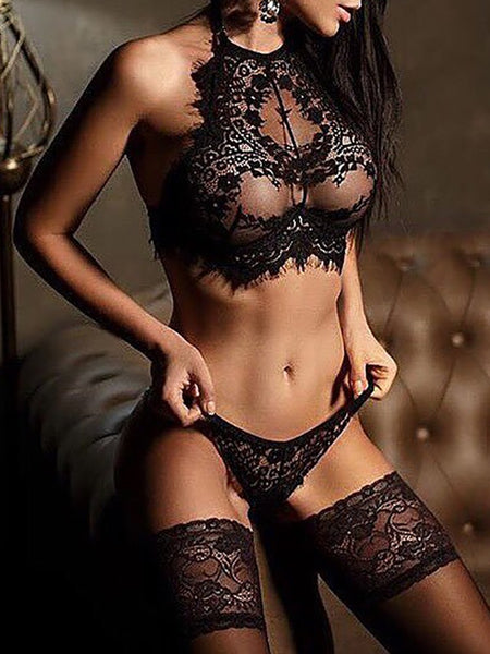 Alluring Black Eyelash Lace Trim Lingerie Sets - girlyrose.com