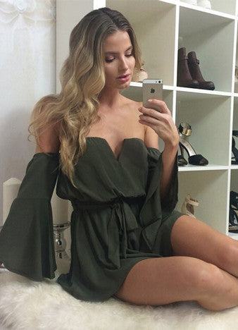 off Shoulder Elastic Waist Solid Romper - girlyrose.com