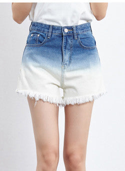 Chic Gradient Ramp Print Slant Pocket Frayed Denim Shorts - girlyrose.com