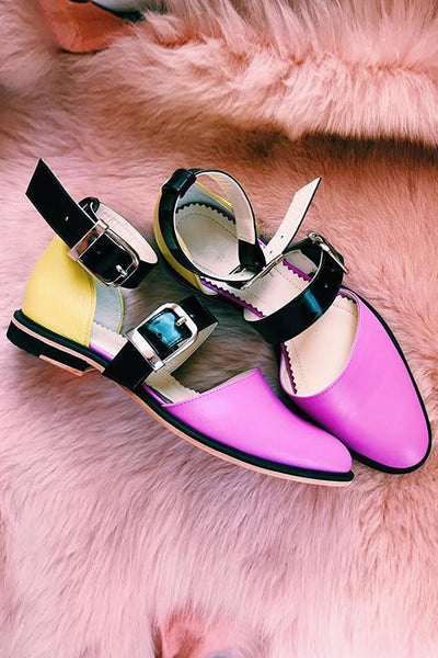 Buckle Color Block Sandals Flats - girlyrose.com