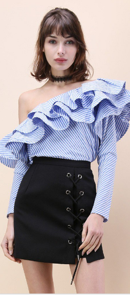 One Shoulder Flounce Trim Striped Blouse