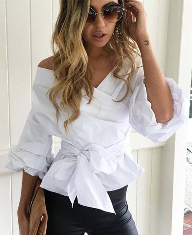 Off the Shoulder Deep V Bowknot Lantern Sleeve Blouse