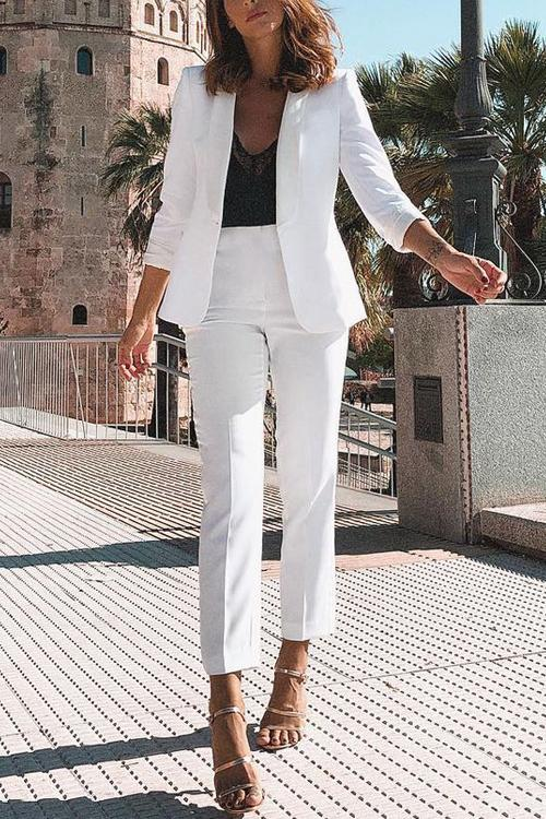 Slim Blazer Pants Set - girlyrose.com