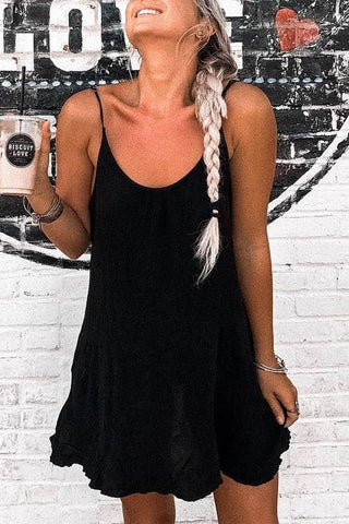 Solid Adjustable Slip Mini Dress - girlyrose.com