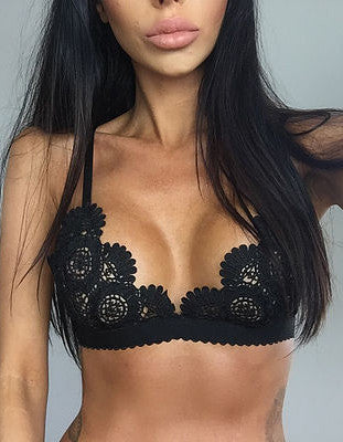 Women Sexy Lace Crochet Strappy Hollow-out Lingerie Bras