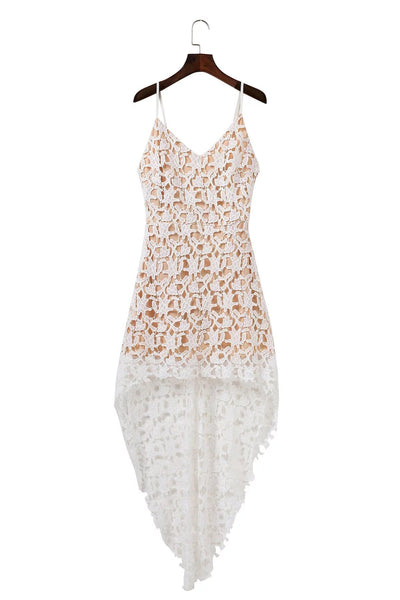 White V-neck Dipped Hem Spaghetti Straps Cami Lace Dress - girlyrose.com