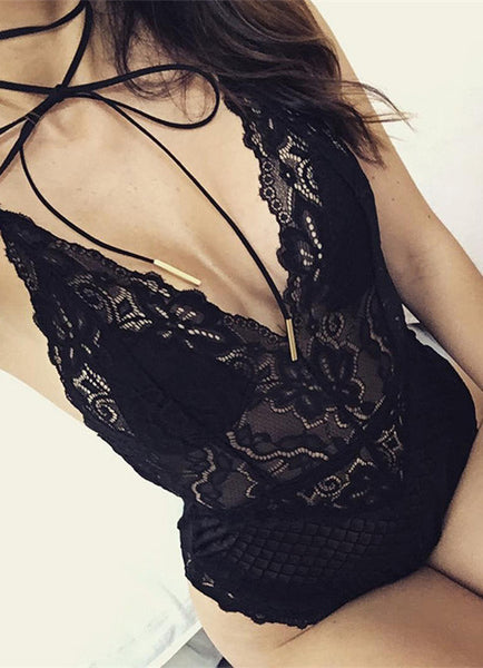 Sexy V-neck Lace Design Bodysuit with Random Lace Pattern