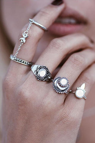 Chains Stone Rings Sets - girlyrose.com