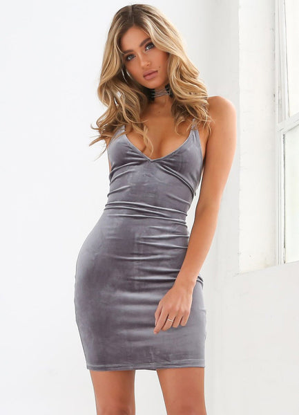 V Neck Bodycon Mini Dress - girlyrose.com