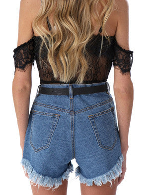 High Waist Floral Embroidered Fringed Denim Shorts - girlyrose.com