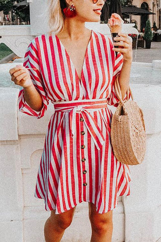 Pockets Stripe Button Mini Dress - girlyrose.com