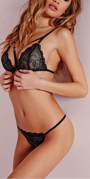 Black Sexy Sheer-through Lace Lingerie Set