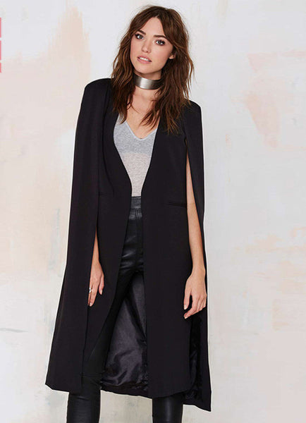 Burgundy Cape Design Longline Buttonless Blazer Coat