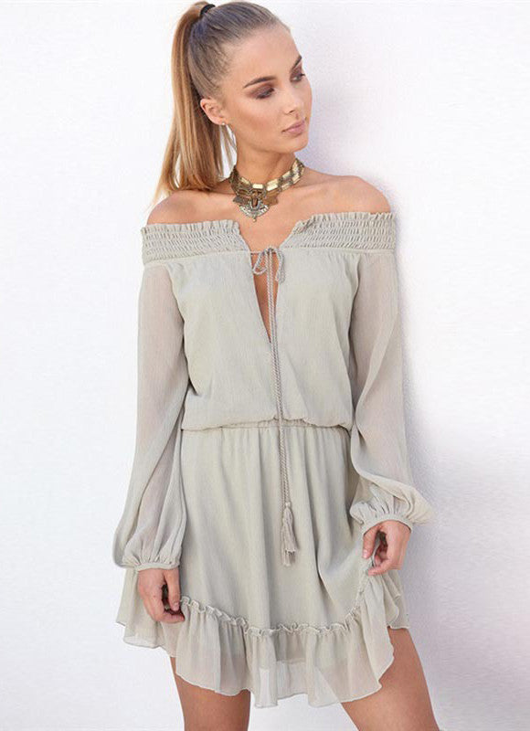 Deep V Neck off Shoulder Long Sleeve Romper with Belt