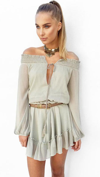 Deep V Neck off Shoulder Long Sleeve Romper with Belt - girlyrose.com