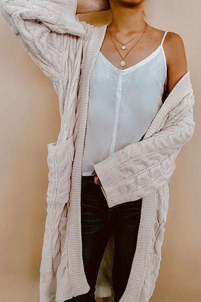 Twist Knit Pockets Cardigan - girlyrose.com