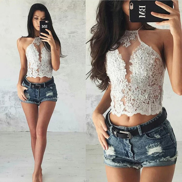 Hot Sale Embroidery Pattern Hollow Lace Halter Camis - girlyrose.com
