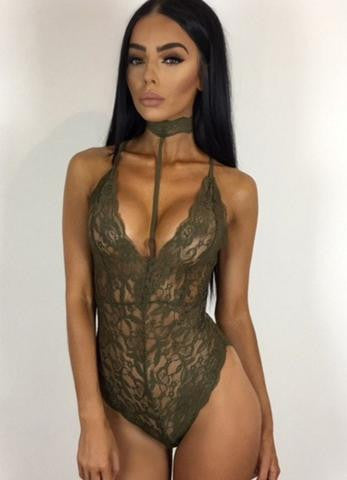 Black Halter Neck Strappy Lace Bodysuit - girlyrose.com