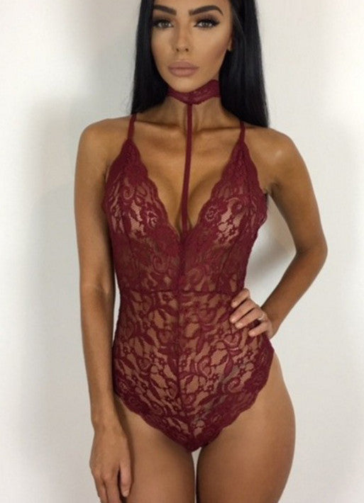 Halter Neck Strappy Lace Bodysuit - girlyrose.com
