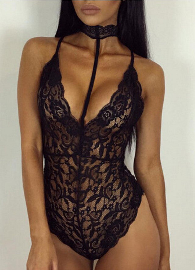Black Halter Neck Strappy Lace Bodysuit