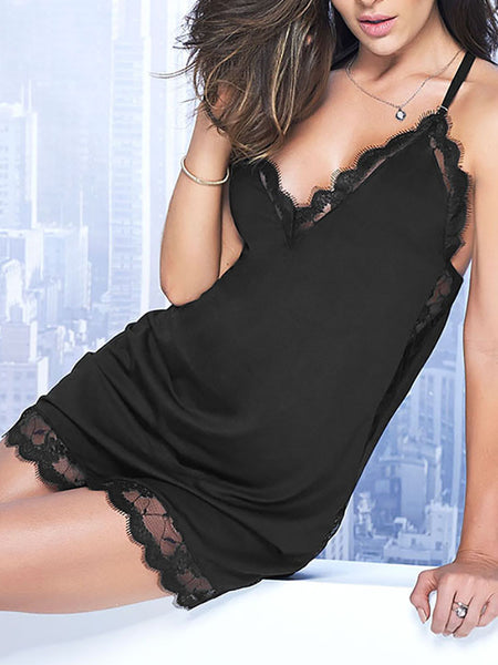 Sexy Semi-sheer Lace Babydoll Lingerie - girlyrose.com