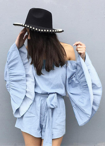 off Shoulder Elastic Waist Solid Rompers
