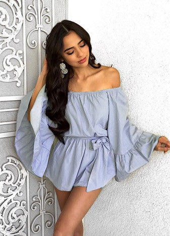 off Shoulder Elastic Waist Solid Romper