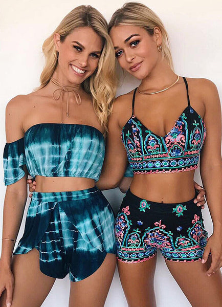 Bohemian Crop Top Shorts 2 Piece Outfits - girlyrose.com
