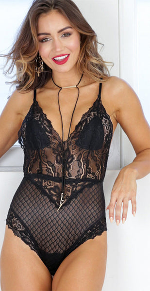 Sexy V-neck Lace Design Bodysuit with Random Lace Pattern - girlyrose.com