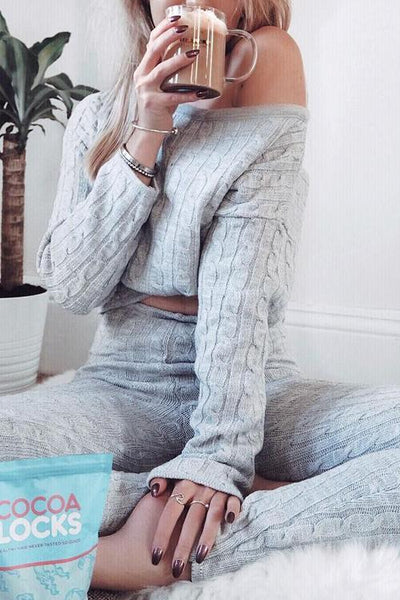 Knit Dew Shoulder Pants Set - girlyrose.com