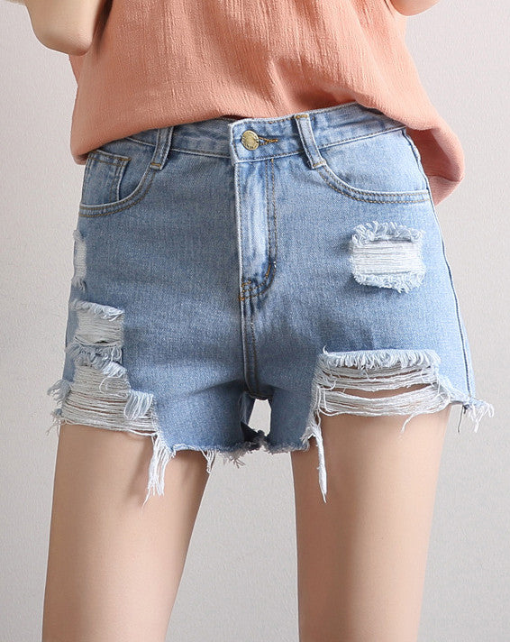 Fashion High Waist Destroyed Denim Summer Shorts - girlyrose.com