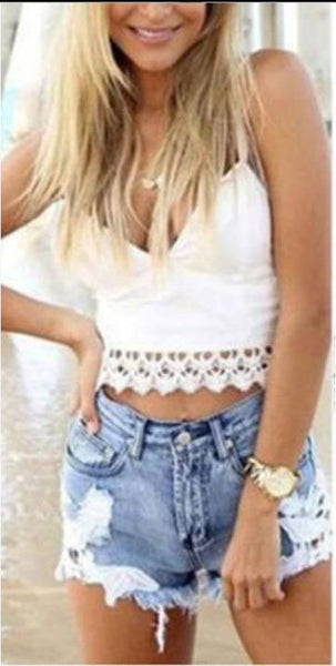 Mid Waist Ripped Fringe Denim Shorts - girlyrose.com