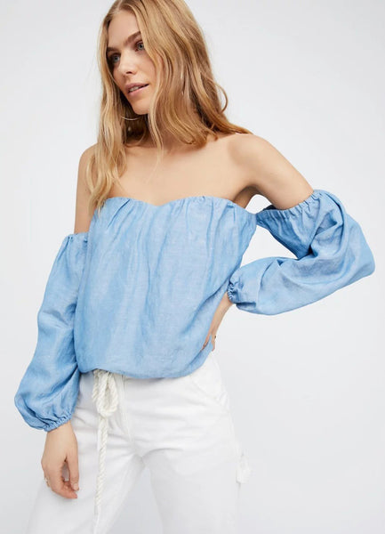 off the Shoulder Long Sleeve Blouse - girlyrose.com