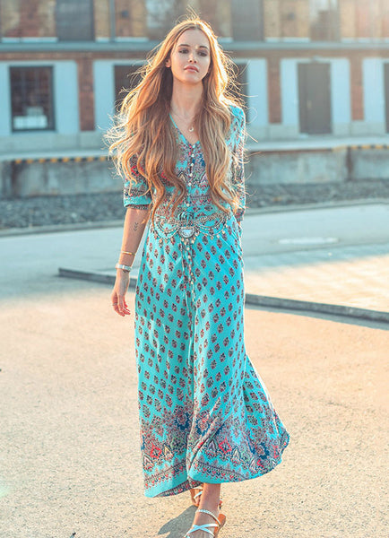 Bohemian 3/4 Sleeve Button Split Dress