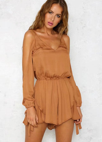 Halter Deep V Neck Backless Romper - girlyrose.com