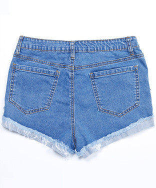High Waist Floral Embroidered Fringed Denim Shorts