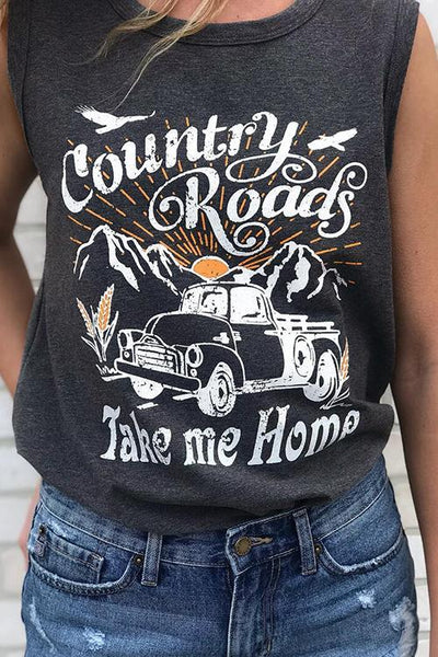 Country Roads Take Me Home Tank Top - girlyrose.com