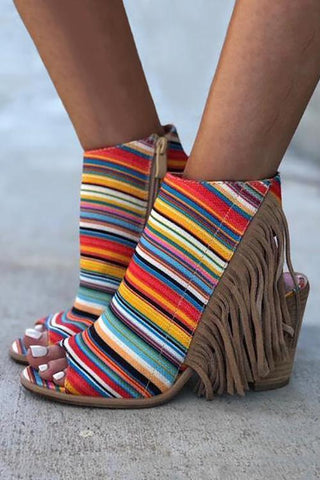 Colorful Striped Fringe Zipper Peep Toe Heels - girlyrose.com