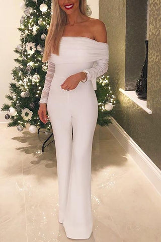 Off Shoulder Mesh Sleeve Flares Jumpsuit - girlyrose.com