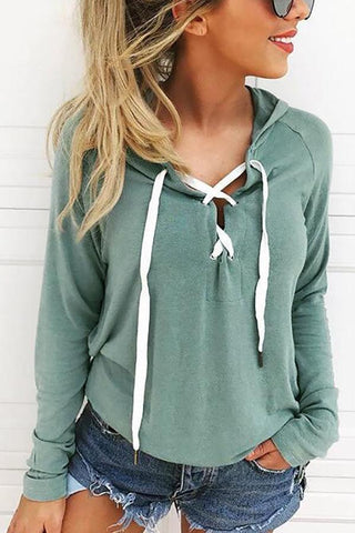 Lace Up Solid Hoodie - girlyrose.com