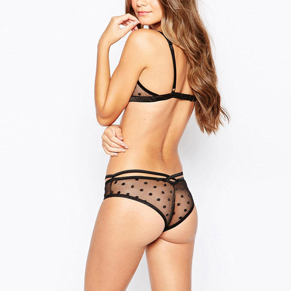 Black Sexy Lace Underwear Fitted Soft Bra Sets - girlyrose.com