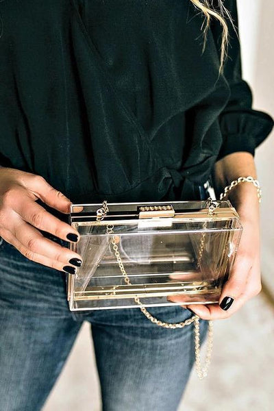 Feather Clear Square Crossbody Bag - girlyrose.com