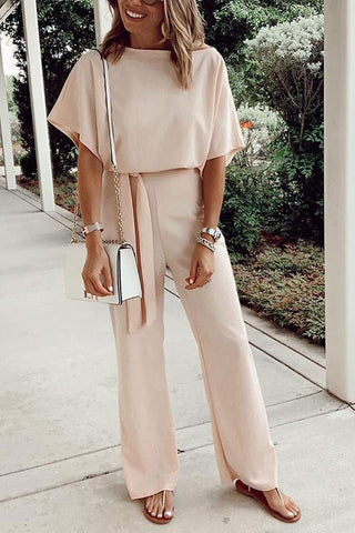 Short Sleeve Knot Jumpsuit - girlyrose.com