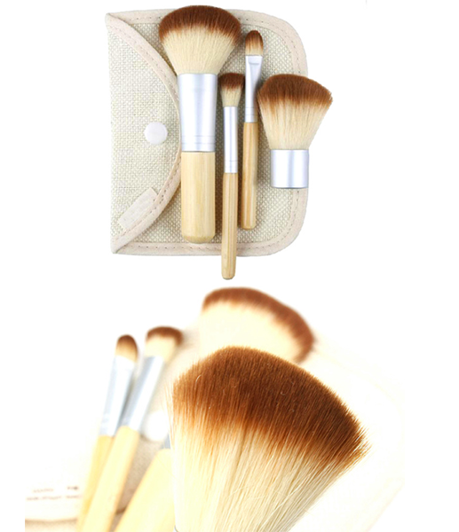 Mini 4 Piece Bamboo Brush Set - girlyrose.com