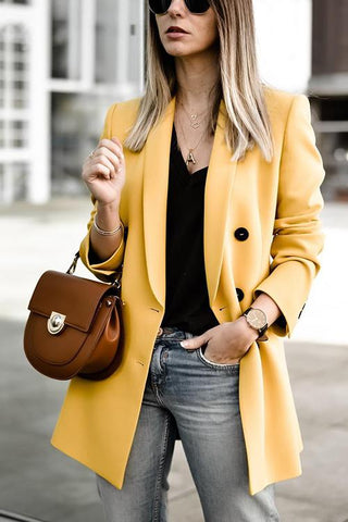 Double Breasted Yellow Blazer - girlyrose.com