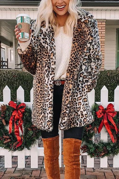 Pockets Leoaprd Faux Fur Lapel Coat - girlyrose.com