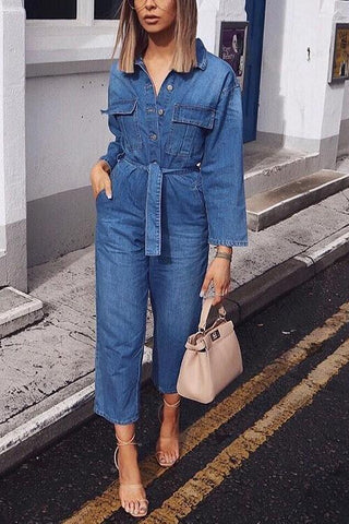 Button Pockets Long Sleeve Denim Jumpsuits - girlyrose.com