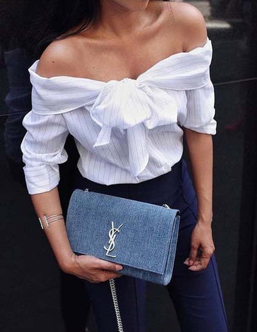 Fashion off Shoulder Ruffle Short Sleeve Solid Blouse